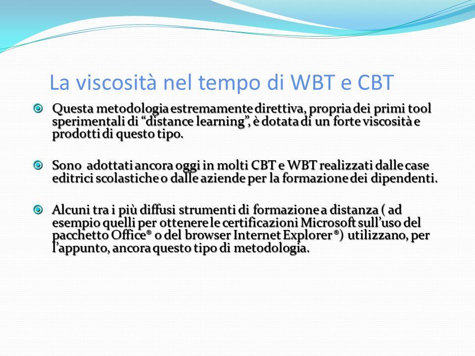 La viscosità nel tempo di WBT e CBT Questa metodologia estremamente direttiva, propria dei primi tool sperimentali di distance learning, è dotata di un forte viscosità e prodotti di questo tipo.