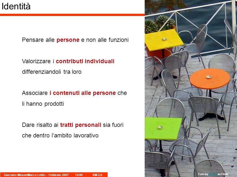 Giacomo Mason/Marco Lotito – Febbraio 2007 -12/40 - KM 2.0 Identità Pensare alle persone e non alle funzioni Valorizzare i contributi individuali diff