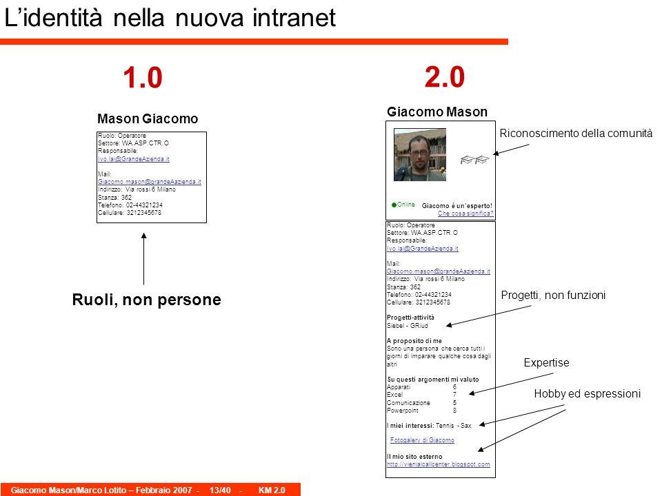 Giacomo Mason/Marco Lotito – Febbraio 2007 -13/40 - KM 2.0 Lidentità nella nuova intranet 1.0 2.0 Online Ruolo: Operatore Settore: WA.ASP.CTR.O Responsabile: Ivo.lai@GrandeAzienda.it Mail: Giacomo.mason@grandeAazienda.it Indirizzo: Via rossi 6 Milano Stanza: 362 Telefono: 02-44321234 Cellulare: 3212345678 Progetti-attività Siebel - GRiud A proposito di me Sono una persona che cerca tutti i giorni di imparare qualche cosa dagli altri Su questi argomenti mi valuto Apparati6 Excel7 Comunicazione5 Powerpoint8 I miei interessi: Tennis - Sax Il mio sito esterno http://vienialcallcenter.blogspot.com Giacomo è unesperto.