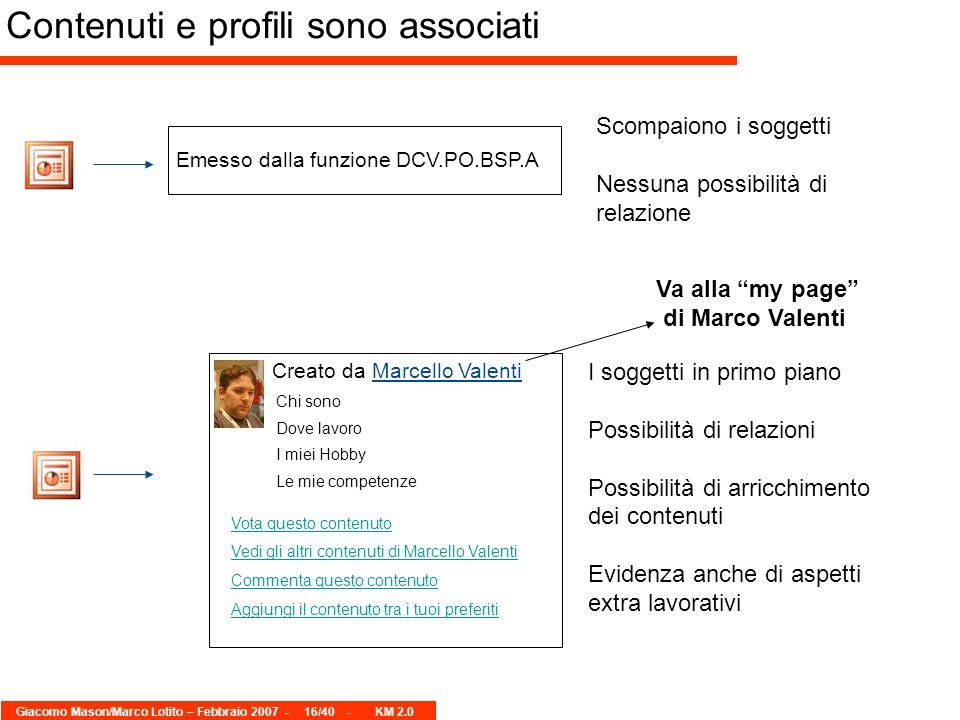 Giacomo Mason/Marco Lotito – Febbraio 2007 -16/40 - KM 2.0 Emesso dalla funzione DCV.PO.BSP.A Creato da Marcello Valenti Chi sono Dove lavoro I miei H