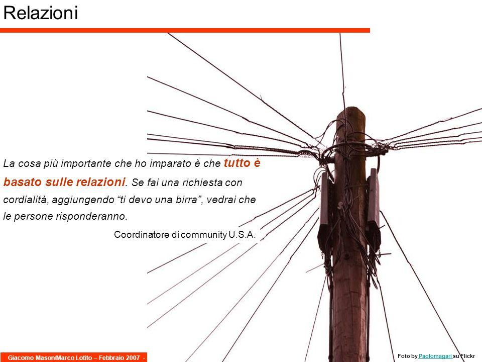 Giacomo Mason/Marco Lotito – Febbraio 2007 -17/40 - KM 2.0 La cosa più importante che ho imparato è che tutto è basato sulle relazioni. Se fai una ric