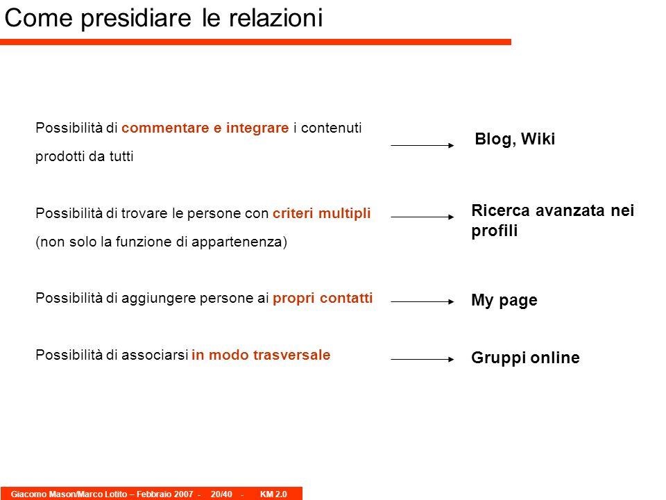 Giacomo Mason/Marco Lotito – Febbraio 2007 -20/40 - KM 2.0 Possibilità di commentare e integrare i contenuti prodotti da tutti Possibilità di trovare