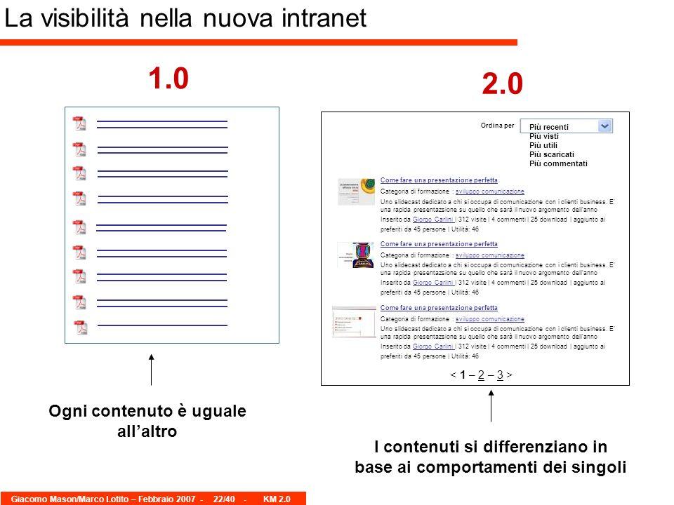 Giacomo Mason/Marco Lotito – Febbraio 2007 -22/40 - KM 2.0 La visibilità nella nuova intranet 1.0 2.0 Come fare una presentazione perfetta Inserito da