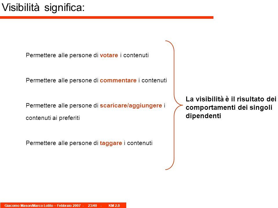 Giacomo Mason/Marco Lotito – Febbraio 2007 -23/40 - KM 2.0 Permettere alle persone di votare i contenuti Permettere alle persone di commentare i conte