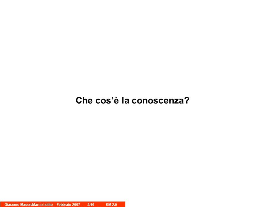 Giacomo Mason/Marco Lotito – Febbraio 2007 -3/40 - KM 2.0 Che cosè la conoscenza