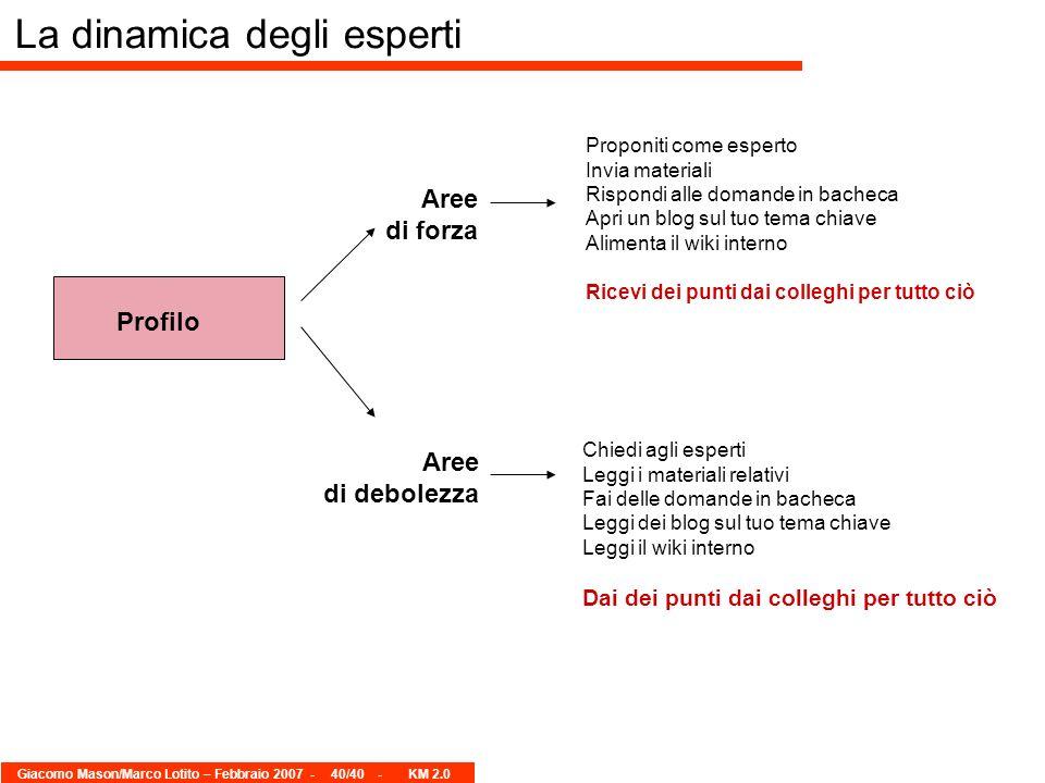 Giacomo Mason/Marco Lotito – Febbraio 2007 -40/40 - KM 2.0 La dinamica degli esperti Profilo Aree di forza Aree di debolezza Proponiti come esperto In