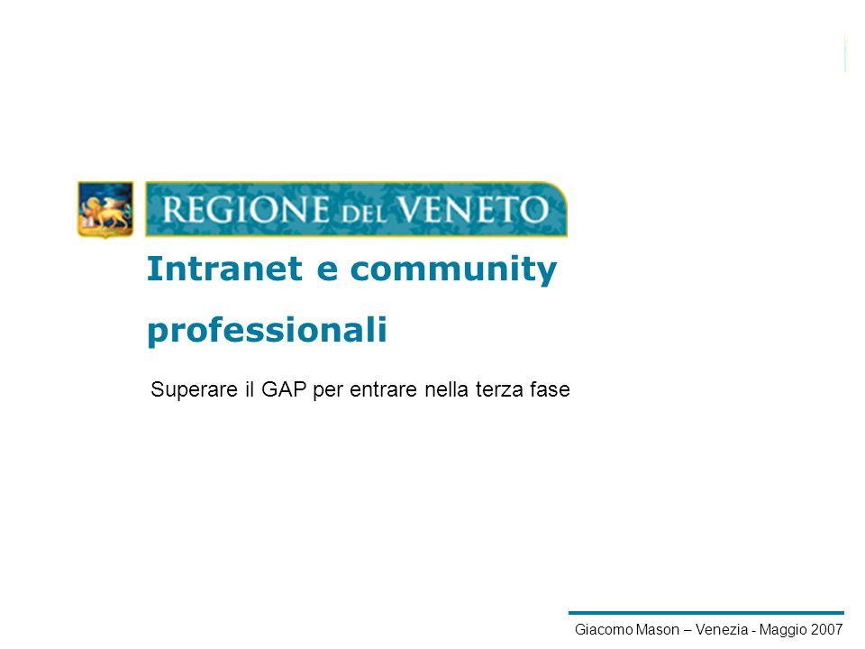1/21 Giacomo Mason – Venezia - Maggio 2007 Intranet e community Intranet e community professionali Superare il GAP per entrare nella terza fase