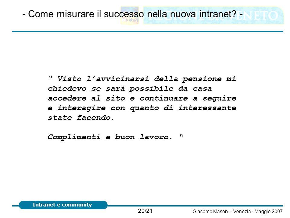 20/21 Giacomo Mason – Venezia - Maggio 2007 Intranet e community - Come misurare il successo nella nuova intranet? - Visto lavvicinarsi della pensione