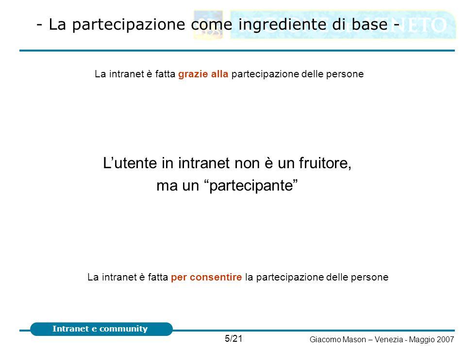 5/21 Giacomo Mason – Venezia - Maggio 2007 Intranet e community - La partecipazione come ingrediente di base - Lutente in intranet non è un fruitore,
