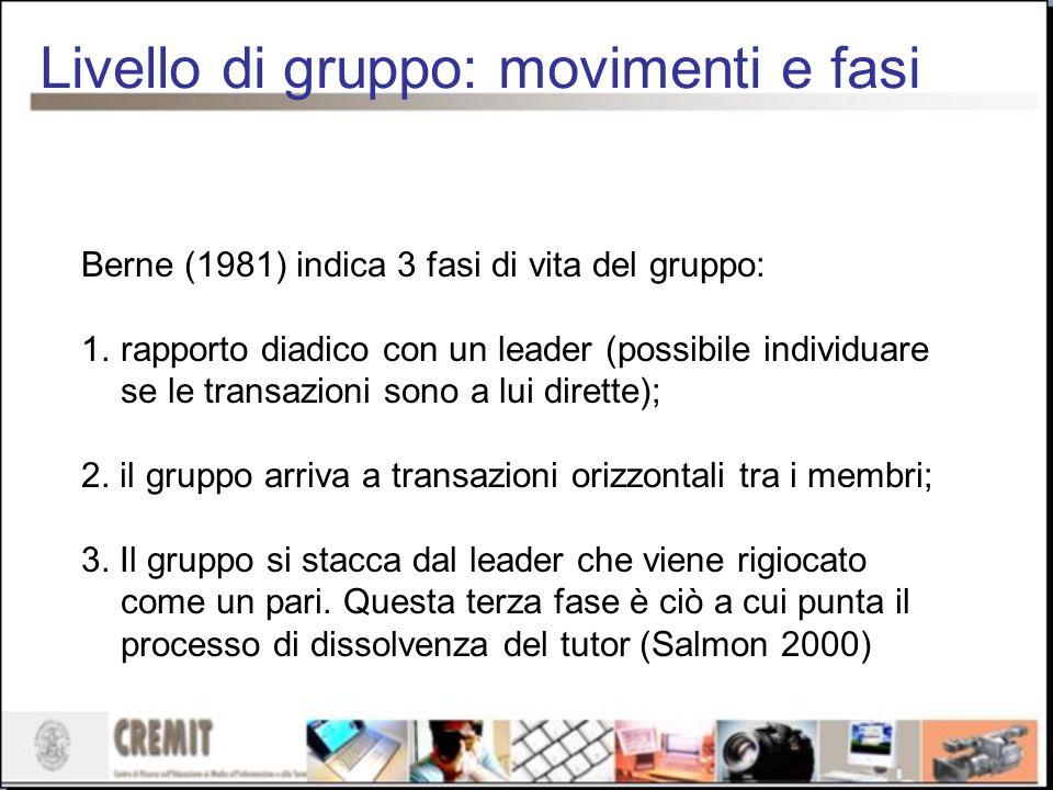 Livello di gruppo: movimenti e fasi Berne (1981) indica 3 fasi di vita del gruppo: 1.rapporto diadico con un leader (possibile individuare se le trans
