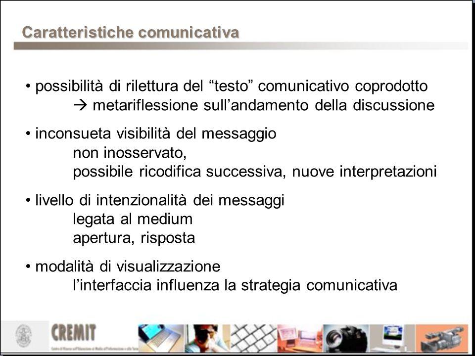 Caratteristichecomunicativa Caratteristiche comunicativa possibilità di rilettura del testo comunicativo coprodotto metariflessione sullandamento dell