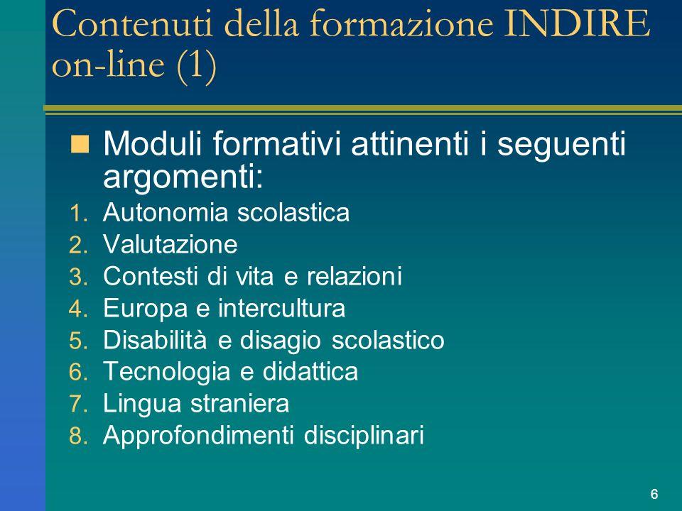 7 Contenuti della formazione INDIRE on-line (2) Materiali di studio Attività (laboratori) Forum Risorse