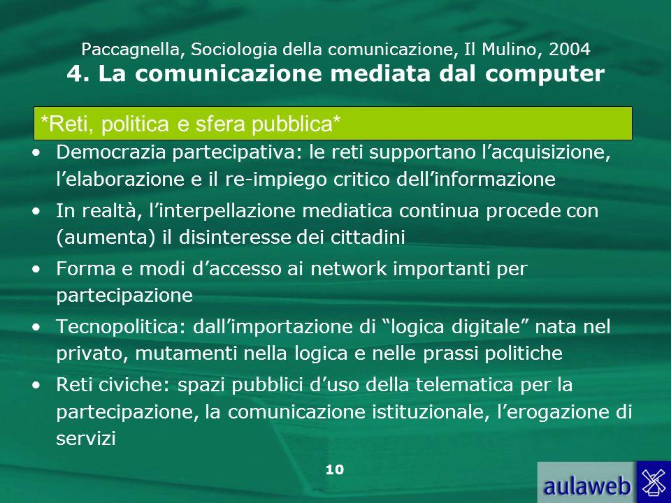 10 Paccagnella, Sociologia della comunicazione, Il Mulino, 2004 4. La comunicazione mediata dal computer Democrazia partecipativa: le reti supportano
