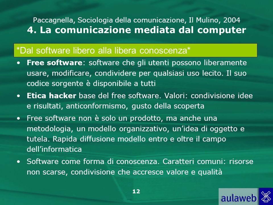12 Paccagnella, Sociologia della comunicazione, Il Mulino, 2004 4. La comunicazione mediata dal computer Free software: software che gli utenti posson