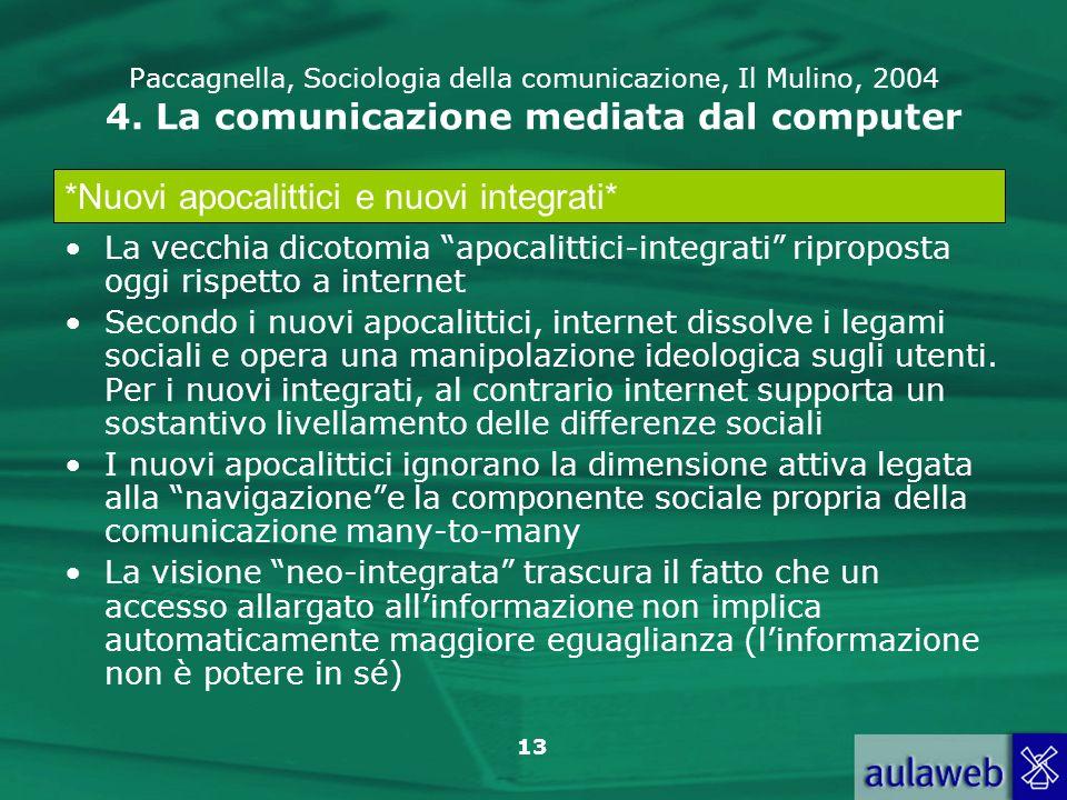 13 Paccagnella, Sociologia della comunicazione, Il Mulino, 2004 4. La comunicazione mediata dal computer La vecchia dicotomia apocalittici-integrati r