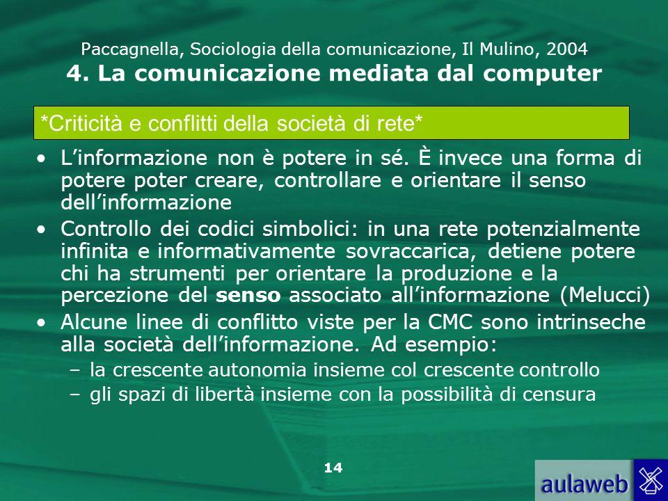 14 Paccagnella, Sociologia della comunicazione, Il Mulino, 2004 4. La comunicazione mediata dal computer Linformazione non è potere in sé. È invece un
