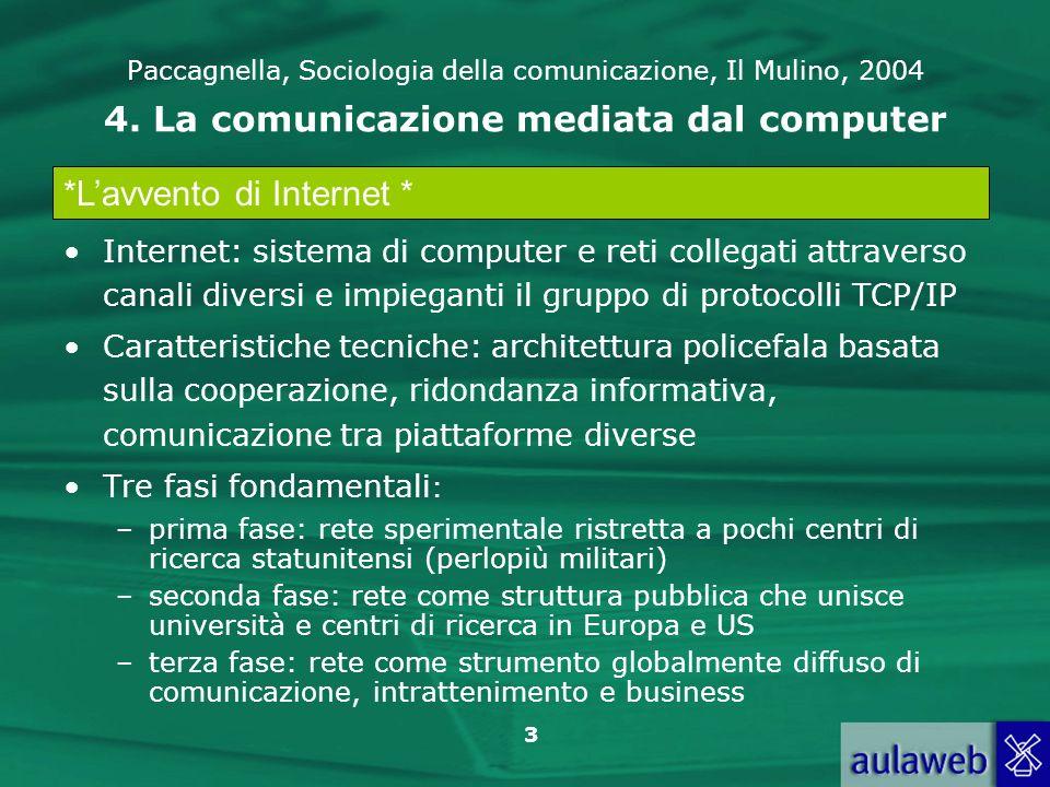 3 Paccagnella, Sociologia della comunicazione, Il Mulino, 2004 4. La comunicazione mediata dal computer Internet: sistema di computer e reti collegati