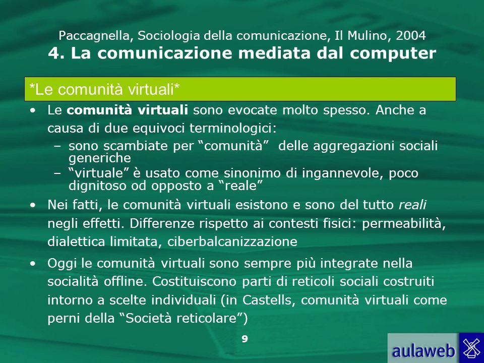 9 Paccagnella, Sociologia della comunicazione, Il Mulino, 2004 4. La comunicazione mediata dal computer Le comunità virtuali sono evocate molto spesso