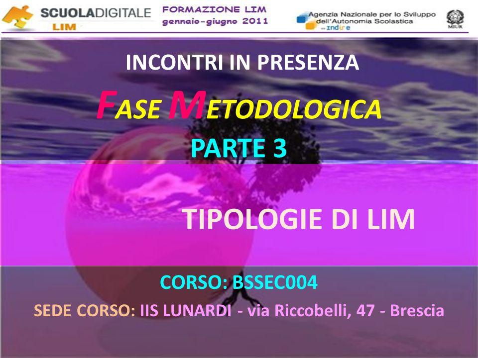 INCONTRI IN PRESENZA F ASE M ETODOLOGICA PARTE 3 CORSO: BSSEC004 SEDE CORSO: IIS LUNARDI - via Riccobelli, 47 - Brescia TIPOLOGIE DI LIM