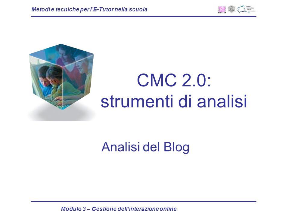 Metodi e tecniche per lE-Tutor nella scuola Modulo 3 – Gestione dellinterazione online CMC 2.0: strumenti di analisi Analisi del Blog