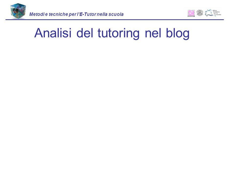 Analisi del tutoring nel blog Metodi e tecniche per lE-Tutor nella scuola
