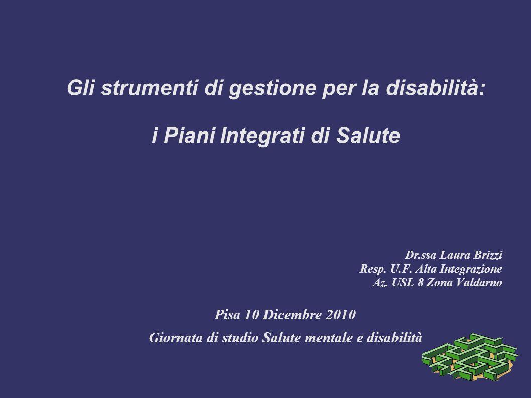 Gli strumenti di gestione per la disabilità: i Piani Integrati di Salute Dr.ssa Laura Brizzi Resp.