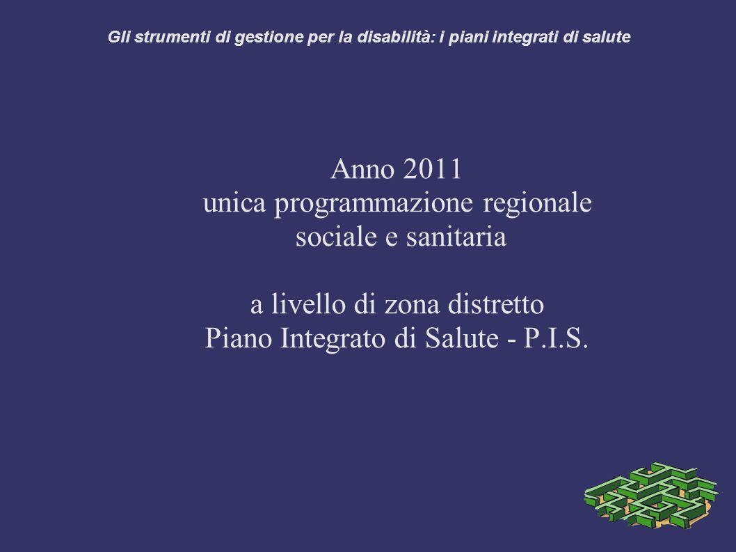 Gli strumenti di gestione per la disabilità: i piani integrati di salute Anno 2011 unica programmazione regionale sociale e sanitaria a livello di zona distretto Piano Integrato di Salute - P.I.S.
