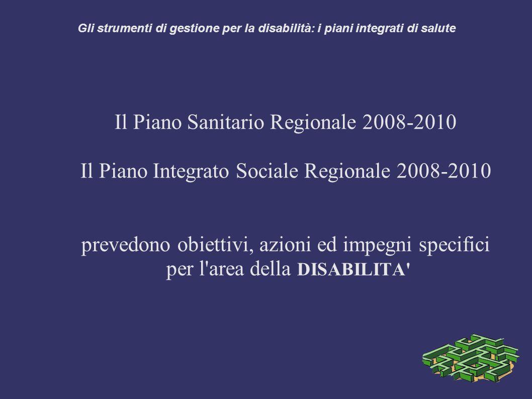 Gli strumenti di gestione per la disabilità: i piani integrati di salute Il Piano Sanitario Regionale 2008-2010 Il Piano Integrato Sociale Regionale 2008-2010 prevedono obiettivi, azioni ed impegni specifici per l area della DISABILITA