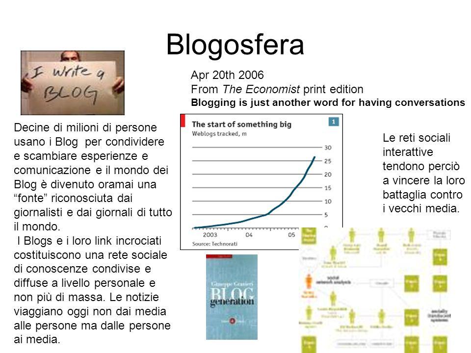 Blogosfera Apr 20th 2006 From The Economist print edition Blogging is just another word for having conversations Decine di milioni di persone usano i Blog per condividere e scambiare esperienze e comunicazione e il mondo dei Blog è divenuto oramai una fonte riconosciuta dai giornalisti e dai giornali di tutto il mondo.