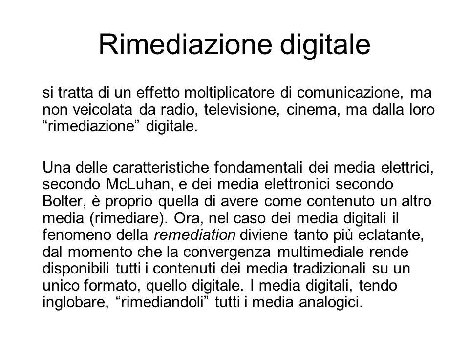 Rimediazione digitale si tratta di un effetto moltiplicatore di comunicazione, ma non veicolata da radio, televisione, cinema, ma dalla loro rimediazione digitale.