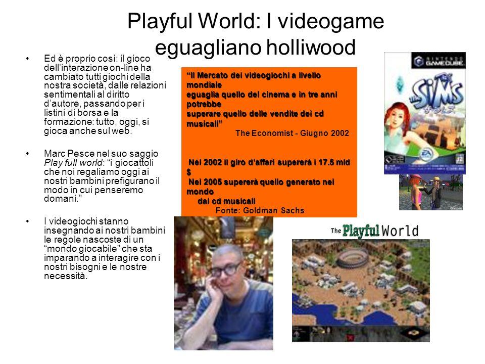 Playful World: I videogame eguagliano holliwood Ed è proprio così: il gioco dellinterazione on-line ha cambiato tutti giochi della nostra società, dalle relazioni sentimentali al diritto dautore, passando per i listini di borsa e la formazione: tutto, oggi, si gioca anche sul web.
