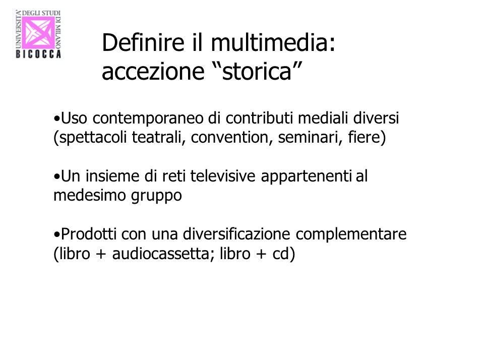 Definire il multimedia: accezione storica Uso contemporaneo di contributi mediali diversi (spettacoli teatrali, convention, seminari, fiere) Un insiem