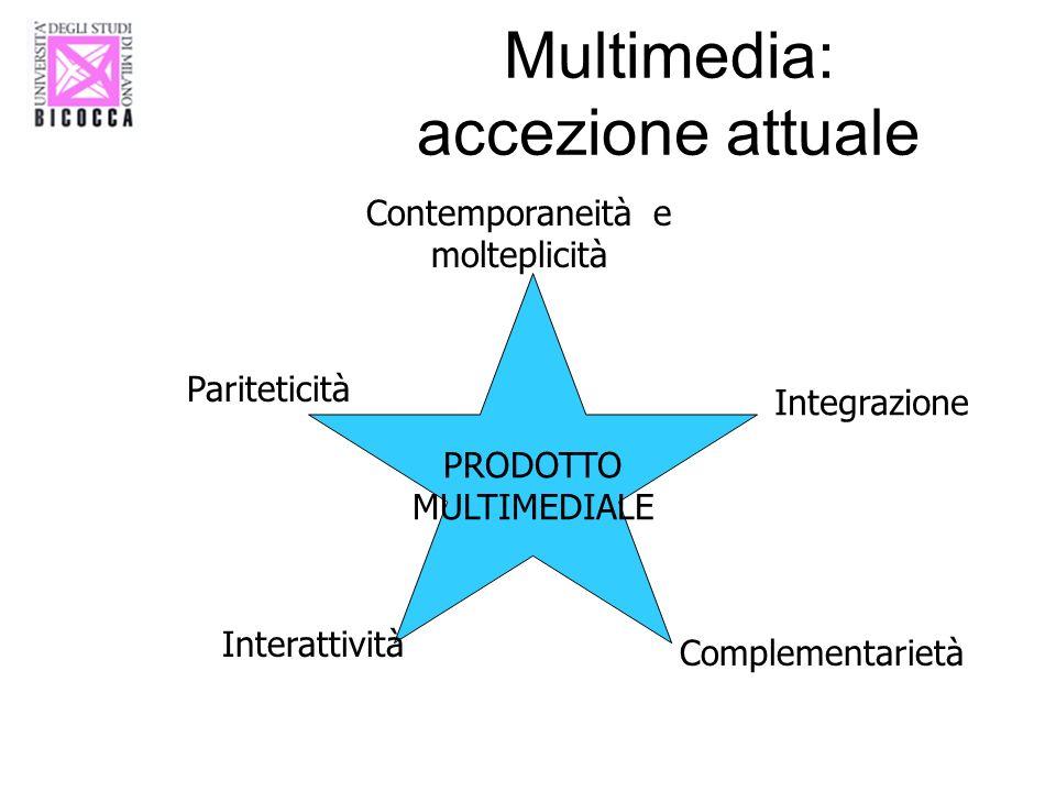 Multimedia: accezione attuale PRODOTTO MULTIMEDIALE Contemporaneità e molteplicità Integrazione Pariteticità Interattività Complementarietà