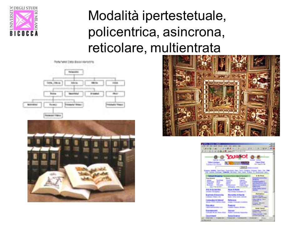 Modalità ipertestetuale, policentrica, asincrona, reticolare, multientrata