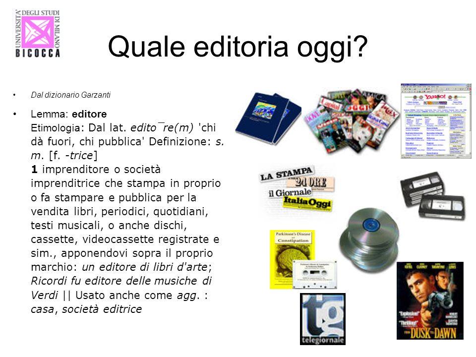 Dal dizionario Garzanti Lemma: editore Etimologia : Dal lat. edito¯re(m) 'chi dà fuori, chi pubblica' Definizione: s. m. [f. -trice] 1 imprenditore o