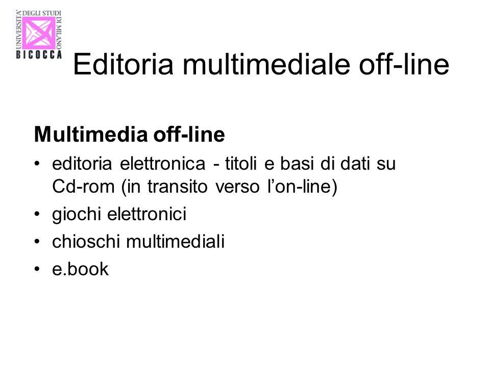 Editoria multimediale off-line Multimedia off-line editoria elettronica - titoli e basi di dati su Cd-rom (in transito verso lon-line) giochi elettron