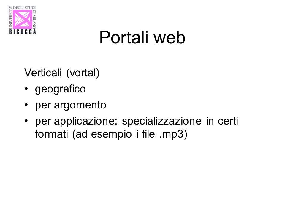 Portali web Verticali (vortal) geografico per argomento per applicazione: specializzazione in certi formati (ad esempio i file.mp3)