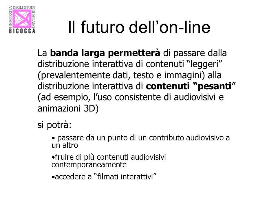 Il futuro dellon-line La banda larga permetterà di passare dalla distribuzione interattiva di contenuti leggeri (prevalentemente dati, testo e immagin
