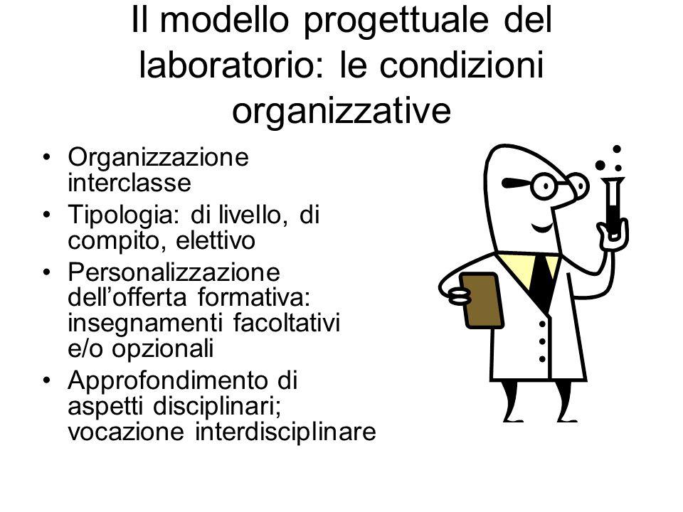 Il modello progettuale del laboratorio: le condizioni organizzative Organizzazione interclasse Tipologia: di livello, di compito, elettivo Personalizzazione dellofferta formativa: insegnamenti facoltativi e/o opzionali Approfondimento di aspetti disciplinari; vocazione interdisciplinare