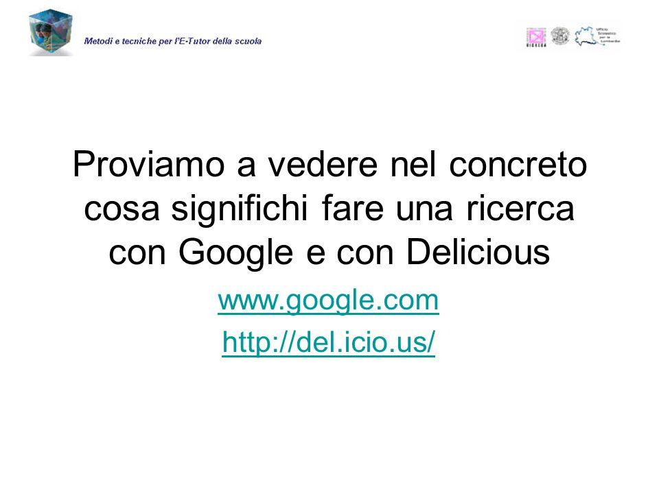 Proviamo a vedere nel concreto cosa significhi fare una ricerca con Google e con Delicious www.google.com http://del.icio.us/