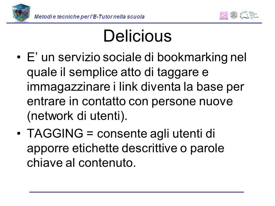 Delicious E un servizio sociale di bookmarking nel quale il semplice atto di taggare e immagazzinare i link diventa la base per entrare in contatto con persone nuove (network di utenti).
