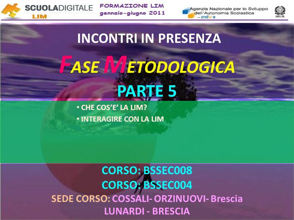 INCONTRI IN PRESENZA F ASE M ETODOLOGICA PARTE 5 CORSO: BSSEC008 CORSO: BSSEC004 SEDE CORSO: COSSALI- ORZINUOVI- Brescia LUNARDI - BRESCIA CHE COSE LA