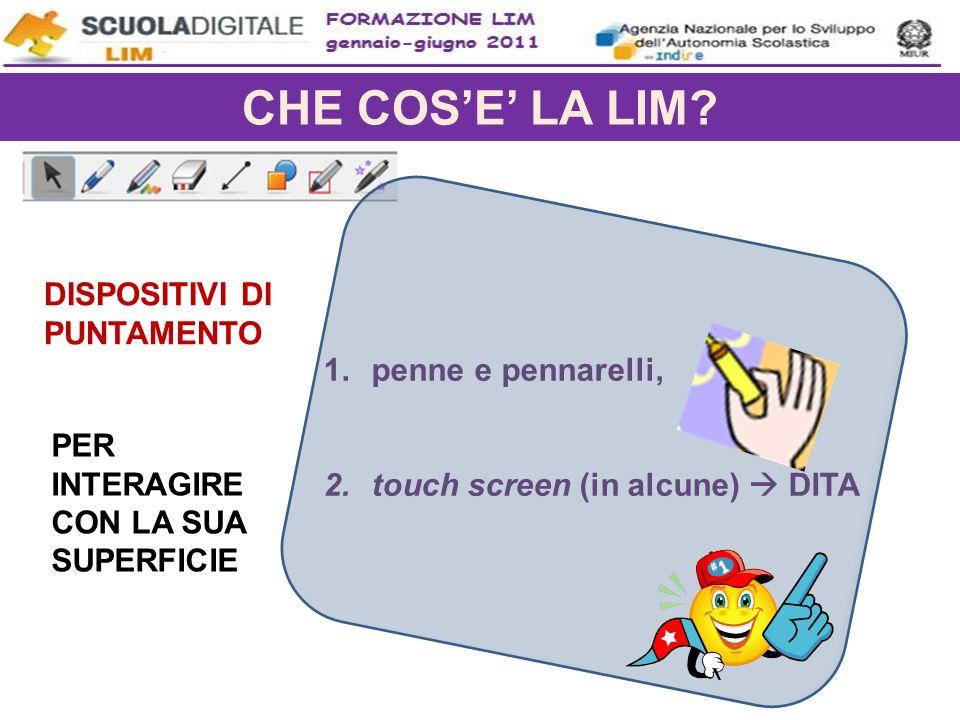 CHE COSE LA LIM? 1.penne e pennarelli, 2.touch screen (in alcune) DITA DISPOSITIVI DI PUNTAMENTO PER INTERAGIRE CON LA SUA SUPERFICIE