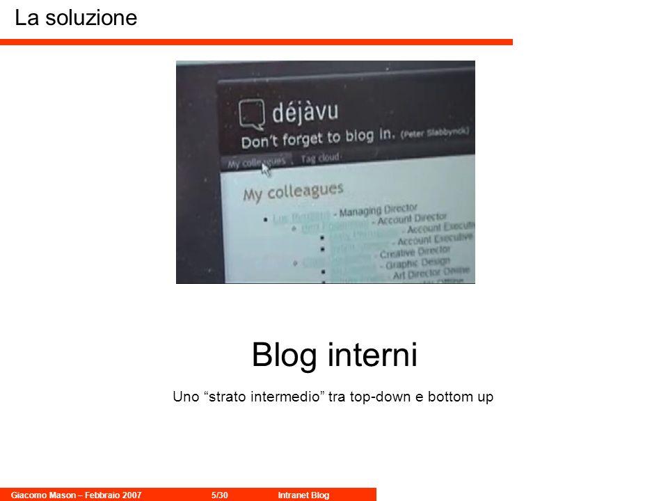 Giacomo Mason – Febbraio 20075/30Intranet Blog La soluzione Blog interni Uno strato intermedio tra top-down e bottom up