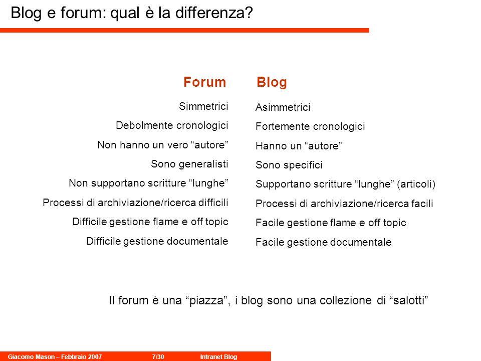 Giacomo Mason – Febbraio 20077/30Intranet Blog Blog e forum: qual è la differenza? ForumBlog Il forum è una piazza, i blog sono una collezione di salo