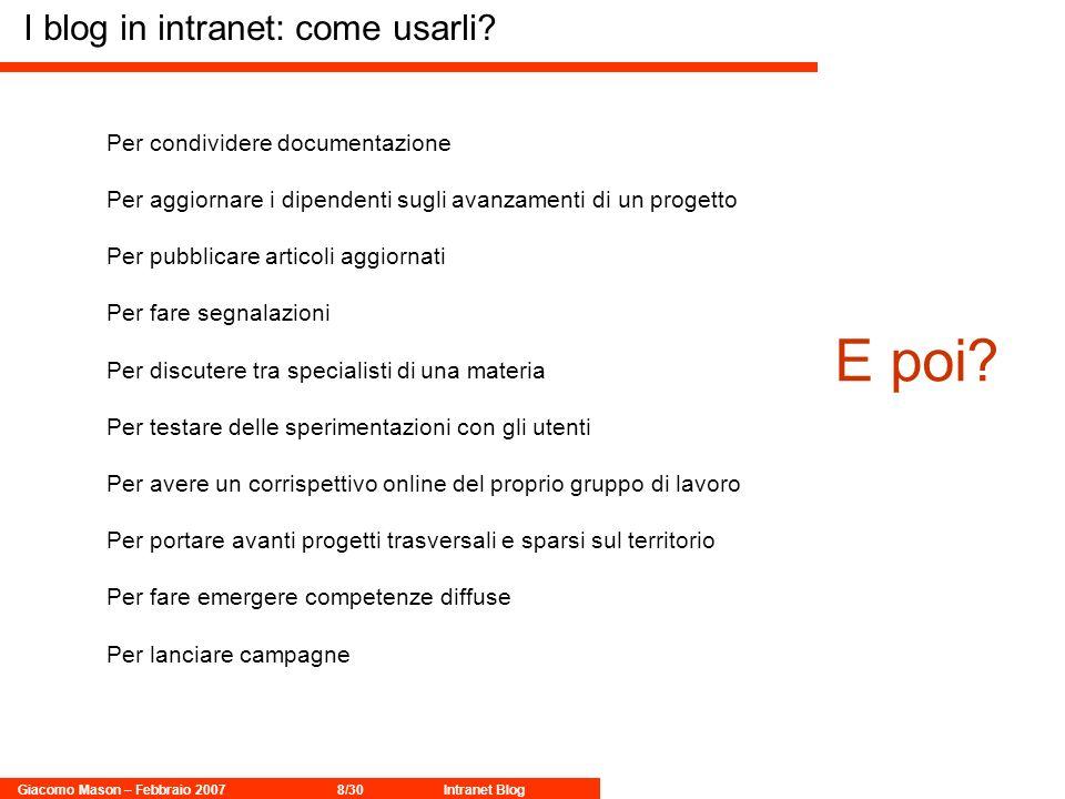 Giacomo Mason – Febbraio 20078/30Intranet Blog I blog in intranet: come usarli.