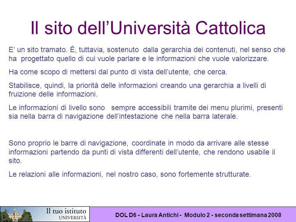 DOL D6 - Laura Antichi - Modulo 2 - seconda settimana 2008 Il sito dellUniversità Cattolica E un sito tramato. È, tuttavia, sostenuto dalla gerarchia
