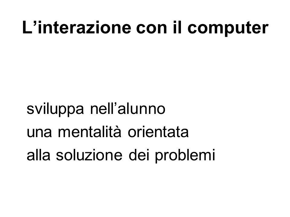 Linterazione con il computer sviluppa nellalunno una mentalità orientata alla soluzione dei problemi