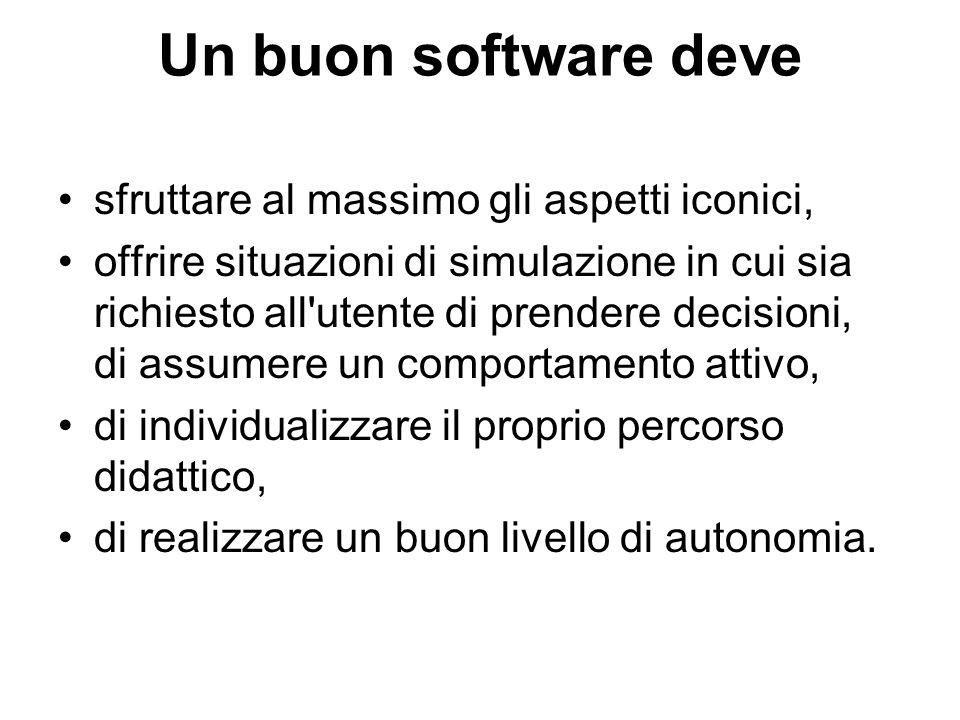 Un buon software deve sfruttare al massimo gli aspetti iconici, offrire situazioni di simulazione in cui sia richiesto all'utente di prendere decision