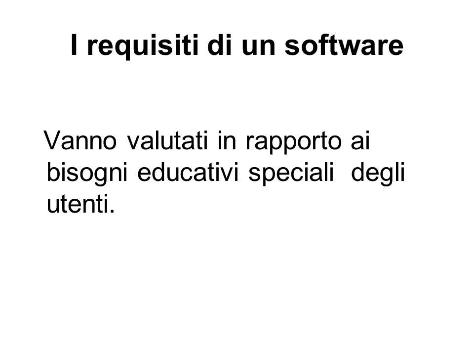 I requisiti di un software Vanno valutati in rapporto ai bisogni educativi speciali degli utenti.